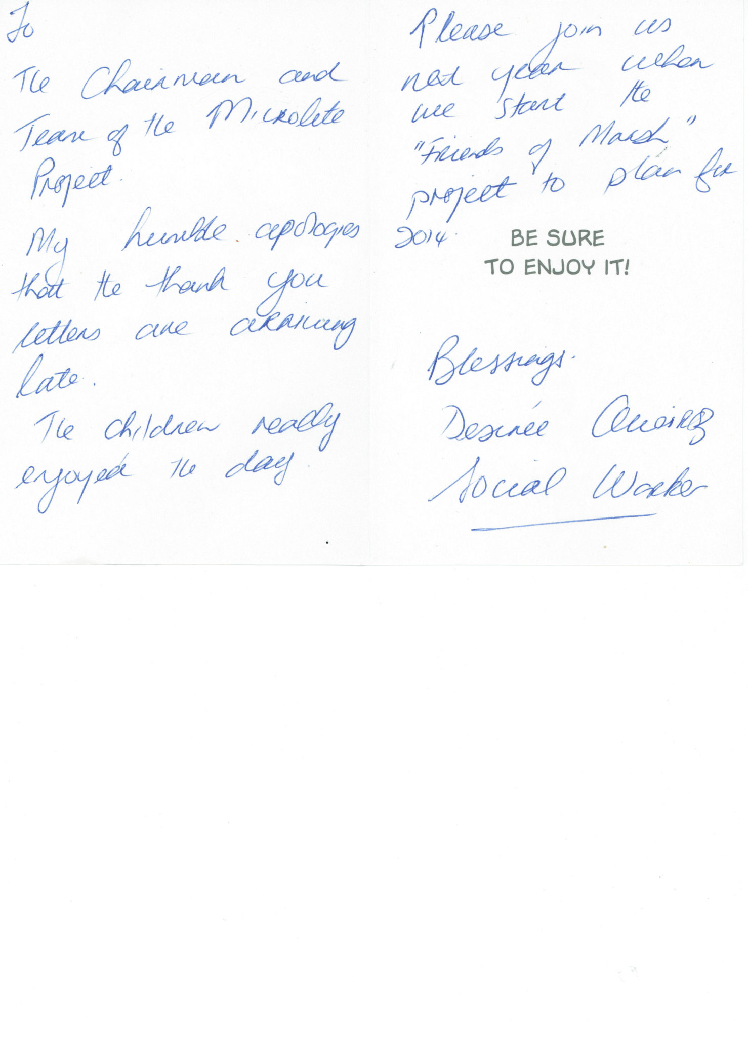 Thank You Letters From The Management And Children Of The Marsh